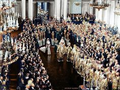 1906. Tsar Nicholas II at the opening ceremony of the First Duma, St. Petersburg : Colorization