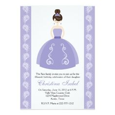Purple Dress Brunette Quinceanera Invitations