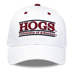NCAA Arkansas HOGS The Game Bar Design Adjustable Hat, White  http://allstarsportsfan.com/product/ncaa-arkansas-hogs-the-game-bar-design-adjustable-hat-white/  3D top bar embroidery Back embroidery Printed taping inside the hat