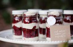 Totally yum: Red Velvet Mason Jar Cupcakes //// Photo The Sunday Sweet