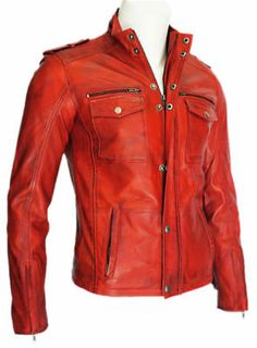 The jacket is made of A Grade Lambskin leather. New Real Leather Biker Style Jacket. We have ourown size guide (displayed along with product images) which should not bemisunderstood with any country (UK, USA) specific size chart. Biker Style, Jacket Style, Fashion Wear, Mens Fashion, Lambskin Leather Jacket, Leather Jackets, Mens Outdoor Clothing, Long Sleeve Fitted Dress, Stylish Jackets