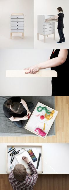Interesting idea :: draw­ers them­selves func­tion­ing as mobile work sur­faces ( http://www.elinajarvinen.com/25 )