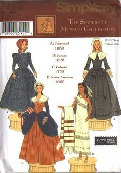 """MOMSPatterns Vintage Sewing Patterns - Simplicity 5913 Discontinued 2002 Sewing Pattern 11.5"""" Barbie Doll Museum Collection Costumes, Thanksgiving Centennial, Puritan, Colonial, Native American"""