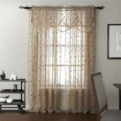 Country Embroidery Sheer With Valance Curtain Set Leaf Curtains, Brown Curtains, Kids Curtains, Lined Curtains, Curtains For Sale, Grommet Curtains, Sheer Curtain Panels, Curtain Sets, Dashboards