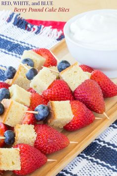 Red, White, and Blue Berry Pound Cake Bites - a simple summer dessert recipe perfect for Fourth of July barbecues that you can make with your favorite store bought or homemade poundcake, even gluten free. Dunk them in fresh whipped cream, or whipped coconut cream for a vegan option. | cupcakesandkalechips.com