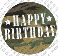 6 Round  Camouflage Birthday  Edible Image CakeCupcake Topper -- Find out more about the great product at the image link.