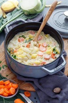 Kohlrabigemüse mit Kartoffeln und Möhren - emmikochteinfach Veggie Recipes, Crockpot Recipes, Soup Recipes, Chicken Recipes, Dinner Recipes, Healthy Recipes, Cooking Recipes, Healthy Eating, Clean Eating