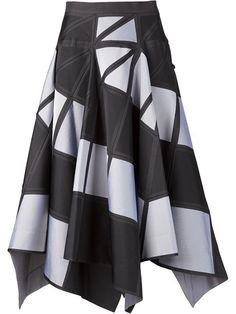 Issey Miyake geometric pattern full skirt in Anastasia Boutique Issey Miyake, Geometric Fashion, Merian, Look Vintage, Full Skirts, Asymmetrical Skirt, Western Dresses, Printed Skirts, Skirt Outfits