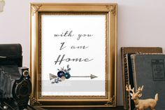 Anniversary Valentines Home Printable, With You I Am Home, Paper Anniversary, Valentines Day, Birthday, Wedding, Housewarming Gift Ideas - pinned by pin4etsy.com