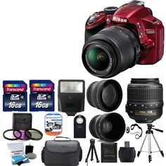 Nikon D3200 24MP DSLR Camera Red w/ 18-55mm VR Lens + 32GB TOP VALUE Kit! #Nikon