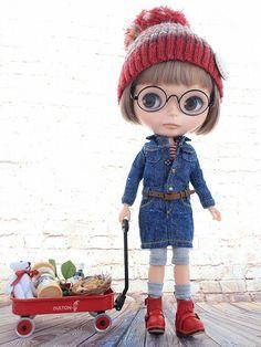 ◆Blythe Outfit◆ブライス♪デニムワンピコーデ12点セットNO57_ブライス本体・眼鏡は付属しません。
