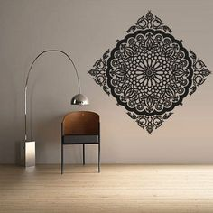 Wall Decal Vinyl Mural Sticker Art Decor Bedroom Dorm Kitchen Ceiling Mandala Menhdi Flower Pattern Ornament Om Indian Hindu Buddha Z2826 >>> Want to know more, click on the image.