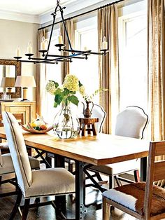 New and Old Mixed: the table, the burlap panels, and the light fixture