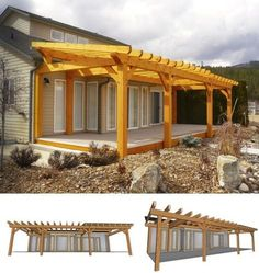 Timber Frame Pergola- attached to house but built at higher angle