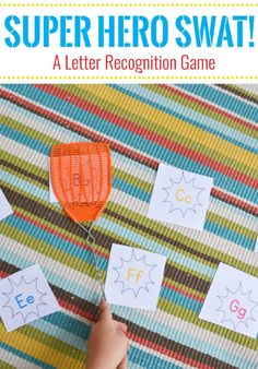 Working on letters with your preschooler?  Play this free printable super hero swat game to work on letter recognition or sounds. - Mary Martha Mama #learninggames #letterlearning #preschool