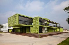 With the recent popularity of container architecture, we are seeing some beautiful designs from recycled freight containers, the new hotel and office for Tony's Farm in Shanghai, by design firm playze, Container Home Designs, Container Shop, Cargo Container, Container House Plans, Container Houses, Container Architecture, Architecture Design, Contemporary Architecture, Sustainable Architecture