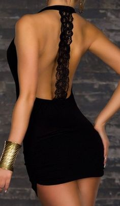 Sexy Plunging Neck Lace Spliced Backless Bodycon Dress