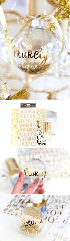 "Personalize a plain ornament with <a href=""http://pizzazzerie.com/holidays/diy-personalized-ornaments-christmas/"" target=""_blank"">fancy stickers and sparkly glitter</a>."