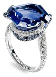 De Grisogono 23.18-Carat-emerald-cut blue sapphire surrounded by 107 blue sapphires and 224 white diamonds in white gold, $378,000