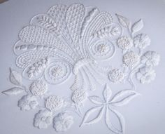 Hardanger Embroidery Patterns Mountmellick - an Irish technique worked on firm cotton with matt threads of various thicknesses to produce a textured effect. Ideal for newcomers to whitework. Hardanger Embroidery, Folk Embroidery, Learn Embroidery, White Embroidery, Ribbon Embroidery, Cross Stitch Embroidery, Embroidery Patterns, Machine Embroidery, Diy Broderie