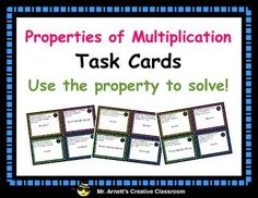Help your students practice properties of multiplication problems with this set of 32 task cards. Students use five properties of multiplication to solve problems.   1) Commutative  2) Associative  3) Distributive  4) Identity  5) Zero  35 pages includes 32 task cards, student recording sheets, and answer keys, and definitions poster all in color or black and white.