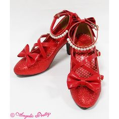 Partyグリッターシューズ via Polyvore featuring shoes, red, angelic pretty, lolita, party glitter, glitter shoes, party shoes, red party shoes, red glitter shoes und red shoes