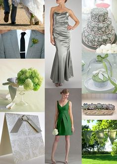 Grey and Green Wedding Theme Mood Board