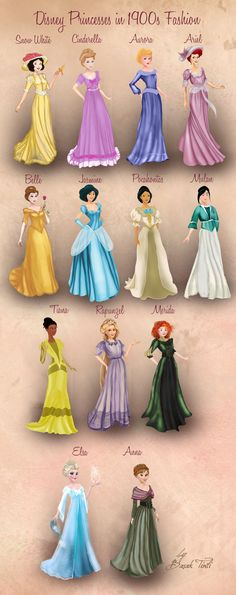 Disney Princesses in 1900s Fashion by BasakTinli on DeviantArt
