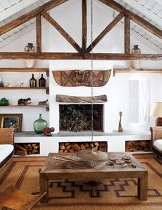 Cabin Fever Lodge Essentials is part of Rustic living room - wood Box For Firewood Living Rooms Cabin Fever Lodge Essentials Living Room Interior, Home Interior Design, Living Room Decor, Interior Decorating, Decorating Ideas, Decor Ideas, Modern Interior, Living Rooms, White Wash Walls