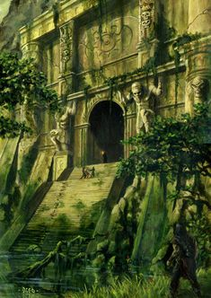 meanwhilebackinthedungeon: — Breogan Nordheimer Ancient temple Maybe something for Printer Chat? Fantasy City, Fantasy Places, Fantasy World, Fantasy Village, Environment Concept, Environment Design, Beau Rivage, Memes Arte, Fantasy Setting