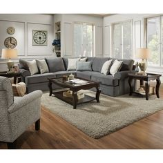 Simmons Upholstery Abington Seven Seas Sectional (2 Piece Sectional, Fabric), Grey