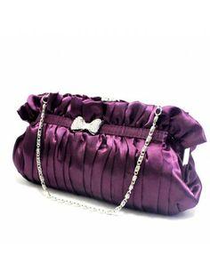 Satin Purple Evening Rhinestone Bowknot Handbag H-1090