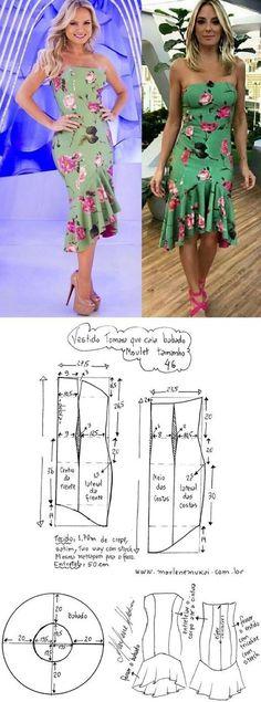 DIY – molde, corte e costura – Marlene Mukai. Vestido tomara que caia com babado moulet. Esquema de modelagem de vestido tomara que caia com saia moule e babado para tecido com strech do 36 ao 56.