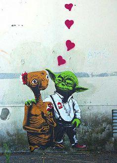Yoda and E.T. street art