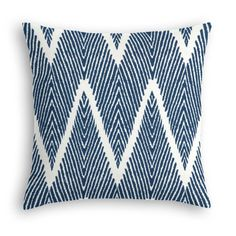 """<p>The every-style accent pillow: this Simple Throw Pillow works in any space. Perfectly cut to be extra fluffy, youwll not only love admiring it from afar but snuggling up to it too! We love it in this oversized navy and white chevron with the perfect """"in the now"""" mix of tribal, animal print, and modern graphic flare.</p><p>All sales final.</p>"""