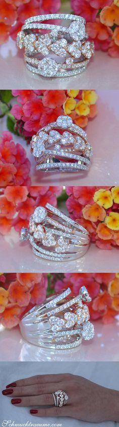 Feminine: Multirow Diamond Ring - Heart Design - 2,83 ct. G VS - White- & Rosegold 18k   schmucktraeume.com   Facebook: https://www.facebook.com/Noble-Juwelen-150871984924926/