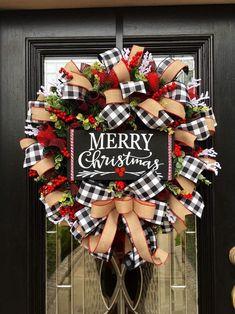 Buffalo Check Christmas Wreath, Merry Christmas Wreath, Farmhouse Christmas, Burlap, Rustic C. Merry Christmas Sign, Plaid Christmas, Rustic Christmas, Christmas 2019, Christmas Home, Christmas Crafts, Christmas Ornaments, Christmas Island, Christmas Vacation