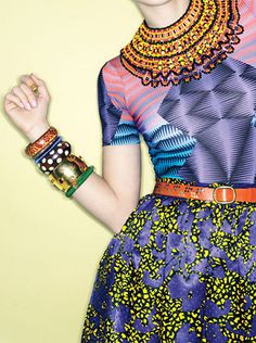 Teen Vogue - Culture Club Topshop T-shirt, See by Chloé skirt, Erickson Beamon for Anna Sui necklace. Erickson Beamon jeweled bracelet, and floral bracelet. Tribal Fashion, African Fashion, High Fashion, Stripes Fashion, Bohemian Fashion, Fashion Vintage, Fashion Women, Women's Fashion, Afro