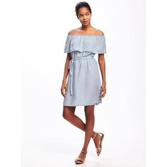 Old Navy Womens Ruffled Off The Shoulder Tencel Shift Dress ($24) ❤ liked on Polyvore featuring dresses, blue, petite, white off the shoulder dress, petite shift dress, white dress, blue dress and off the shoulder ruffle dress