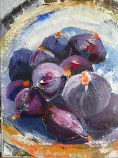 oil paint / a4/ study of fig on plate