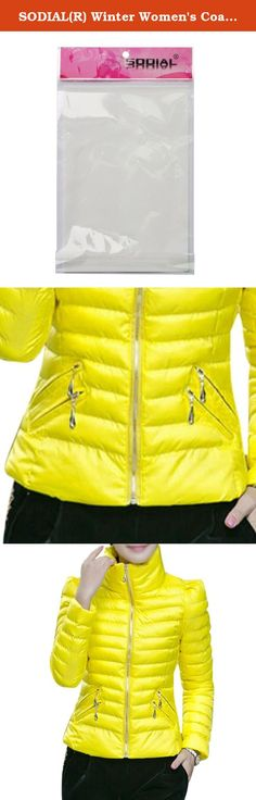 SODIAL(R) Winter Women's Coats Slim Office Epaulet Zippers Ladies Jackets Coat Yellow 2XL. * SODIAL is a registered trademark. ONLY Authorized seller of SODIAL can sell under SODIAL listings.Our products will enhance your experience to unparalleled inspiration. SODIAL(R) Winter Women's Coats Slim Office Epaulet Zippers Ladies Jackets Coat Yellow 2XL Product Description Color: Yellow Size(CM): 2XL--Chest:102--Shoulder:40--Sleeve:59--Length:61;Fit Weight:57.5-62.5KG Hooded:No Fabric...
