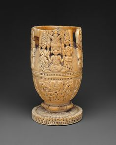 Lidded Vessel | 17th–18th century | Nigeria Culture: Yoruba peoples, Owo group | Medium: Ivory, wood or coconut shell inlay