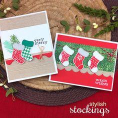 Stocking Christmas Cards by Jennifer Jackson | Stylish Stockings Stamp Set by Newton's Nook Designs #newtonsnook #handmade