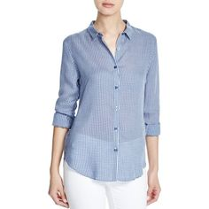 DL1961 West 4th & Jane Slim Gingham Shirt (660 BRL) ❤ liked on Polyvore featuring tops, gingham shirt, slimming tops, slim fitted shirts, dl1961 premium denim and gingham top