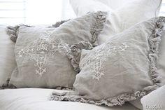 emboidered linen pillows