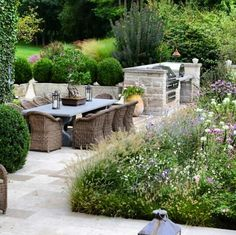 High meadow terrace and outdoor dining providence landscapes Outdoor Rooms, Outdoor Areas, Outdoor Dining, Back Gardens, Garden Spaces, Porches, Dream Garden, Garden Furniture, Wicker Furniture