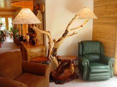 Natural Twisted Floor Lamp by Woodland Creek Furniture.  Available in Custom Sizes.