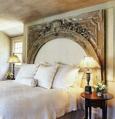 Mantles make beautiful headboards - upholster the inside!
