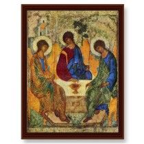 Andrei Rublev.  The prototype for this icon was the mysterious appearance of the Holy Trinity in the form of three travelers to Abraham and Sarah under the oak of Mamre. The Church specifically chose this particular icon because it most fully expresses the dogma of the Holy Trinity: the three angels are depicted in equal dignity, symbolizing the triunity and equality of all three Persons.