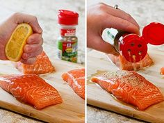 Dress it up with a drizzle of olive oil, a fresh squeeze of lemon and a sprinkle of Perfect Pinch® Salt Free Garlic and Herb Seasoning Blend. Healthy Salmon Recipes, Healthy Eating Recipes, Fish Recipes, Meat Recipes, Seafood Recipes, Cooking Recipes, Diabetic Recipes, Dinner Recipes, Low Salt Recipes